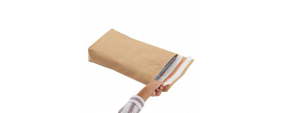 """Pochette en papier kraft """"aller/retour"""" à soufflet de fond"""